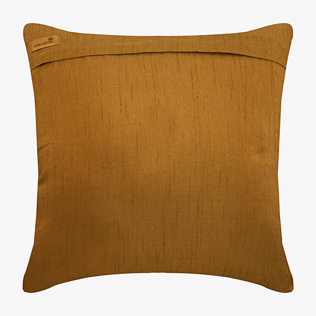 Gold Round Leaves - Gold Silk Throw Pillow Cover
