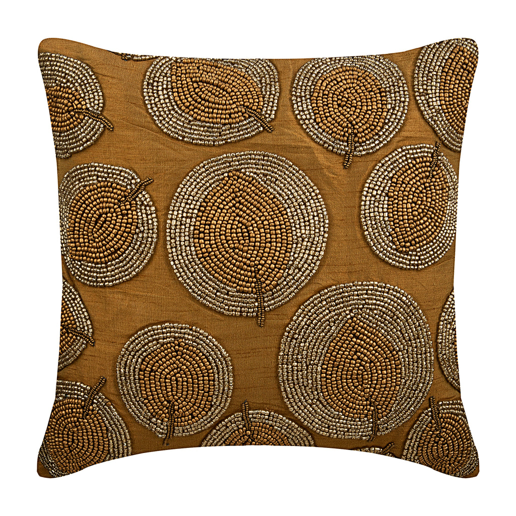Gold Round Leaves Pillow Cover