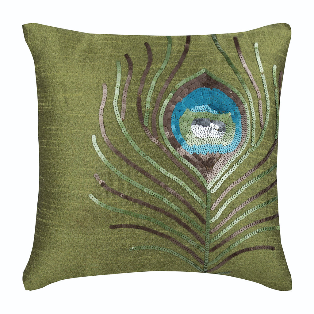 Green Peacock Feather Pillow Cover