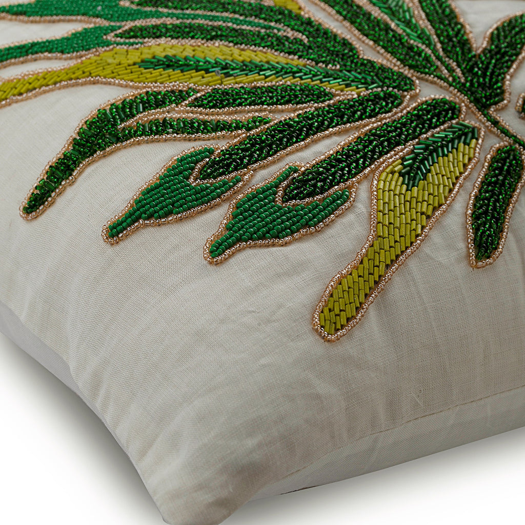 Green Shrub - Green Cotton Linen Throw Pillow Cover