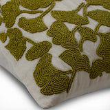 Hikaru - Green Silk Throw Pillow Cover