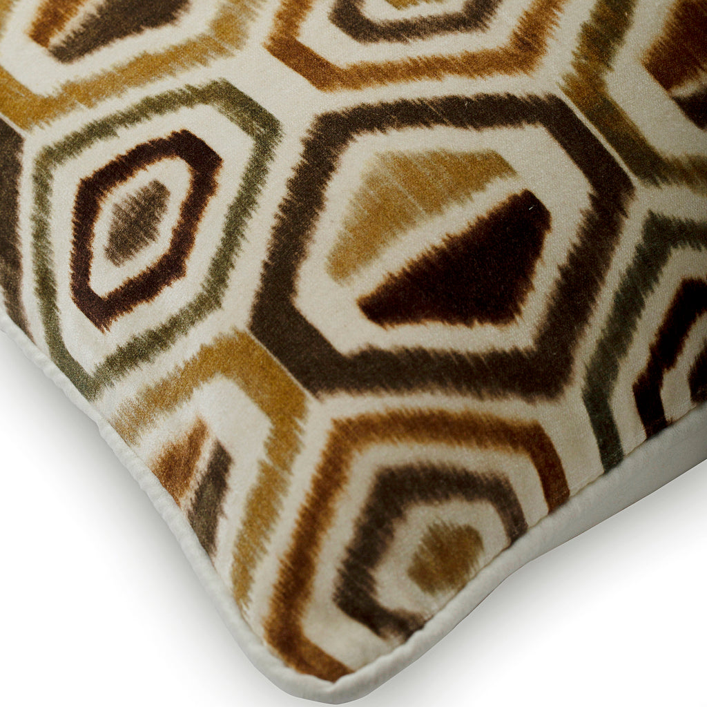 Honey Hexagon - Brown Velvet Throw Pillow Cover