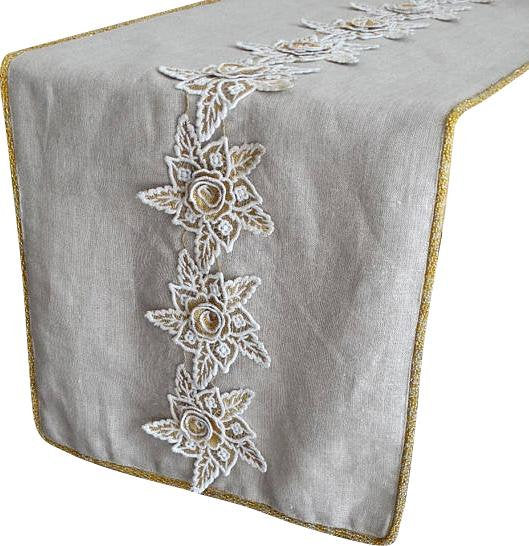 Floral Lace   Linen Natural Beige, Ivory, Gold Decorative Table Runners