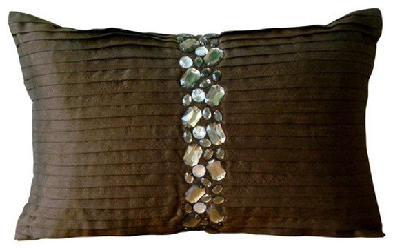 Crystal Dreams - Art Silk Brown Rectangular Decorative Pillow Cover