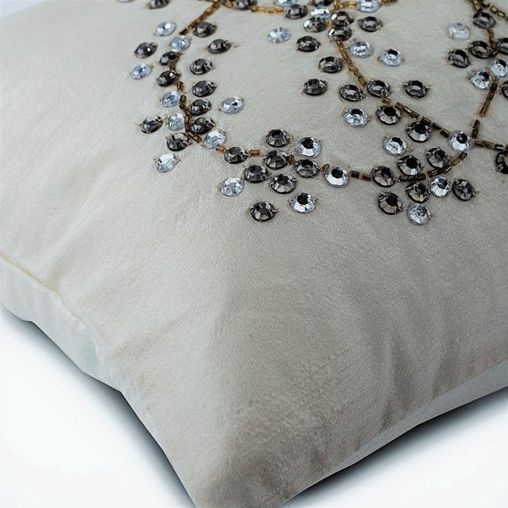 Crystal Clear - Art Silk Ivory Decorative Standard & King Shams