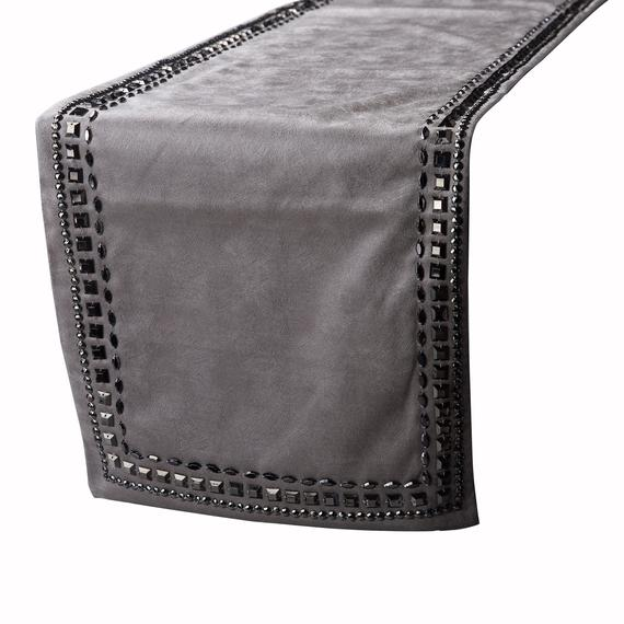 Attrayant Crystals   Leather Silver, Grey Decorative Table Runners