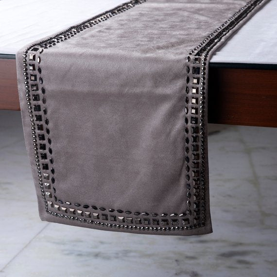 Crystals - Leather Silver, Grey Decorative Table Runners