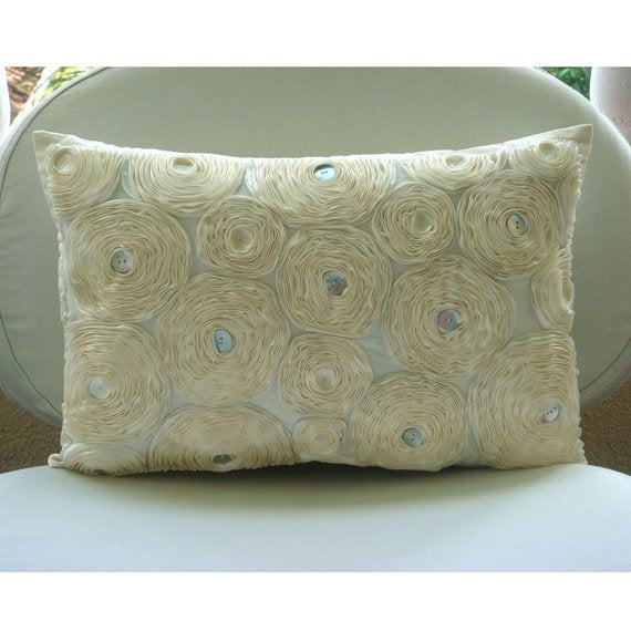 Ivory Paradise - Art Silk Ivory Rectangular Decorative Pillows Cover