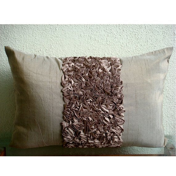 Champagne Brown Love - Art Silk Brown Rectangular Decorative Pillows Cover