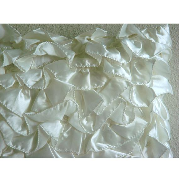 Vintage Glam Ruffles - Satin Ivory Decorative Standard & King Shams