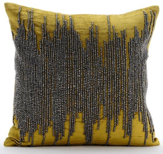 Gold Spill - Gold Velvet Throw Pillow Cover