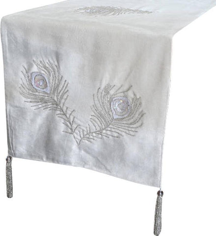 Peacock - Velvet Ivory, Silver, White Decorative Table Runners