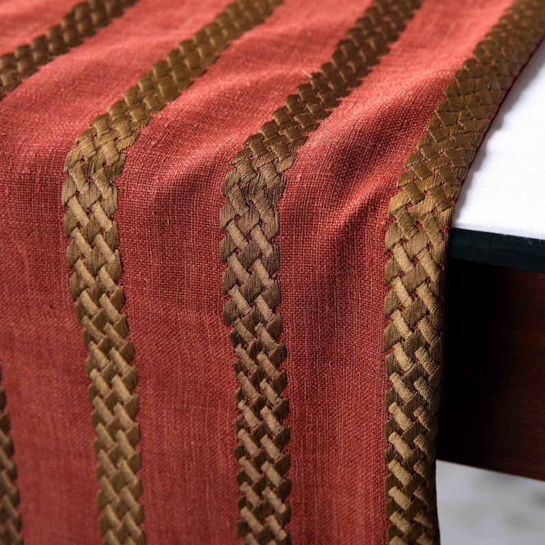 Sumac Stripe - Rust & Red Linen Decorative Table Runners