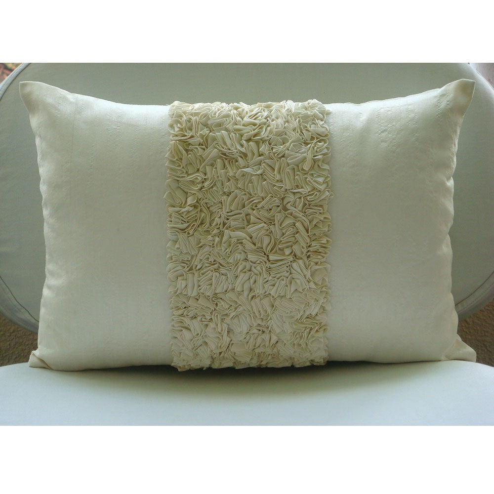 Vintage Ivory Love - Art Silk Ivory Rectangular Decorative Pillows Cover