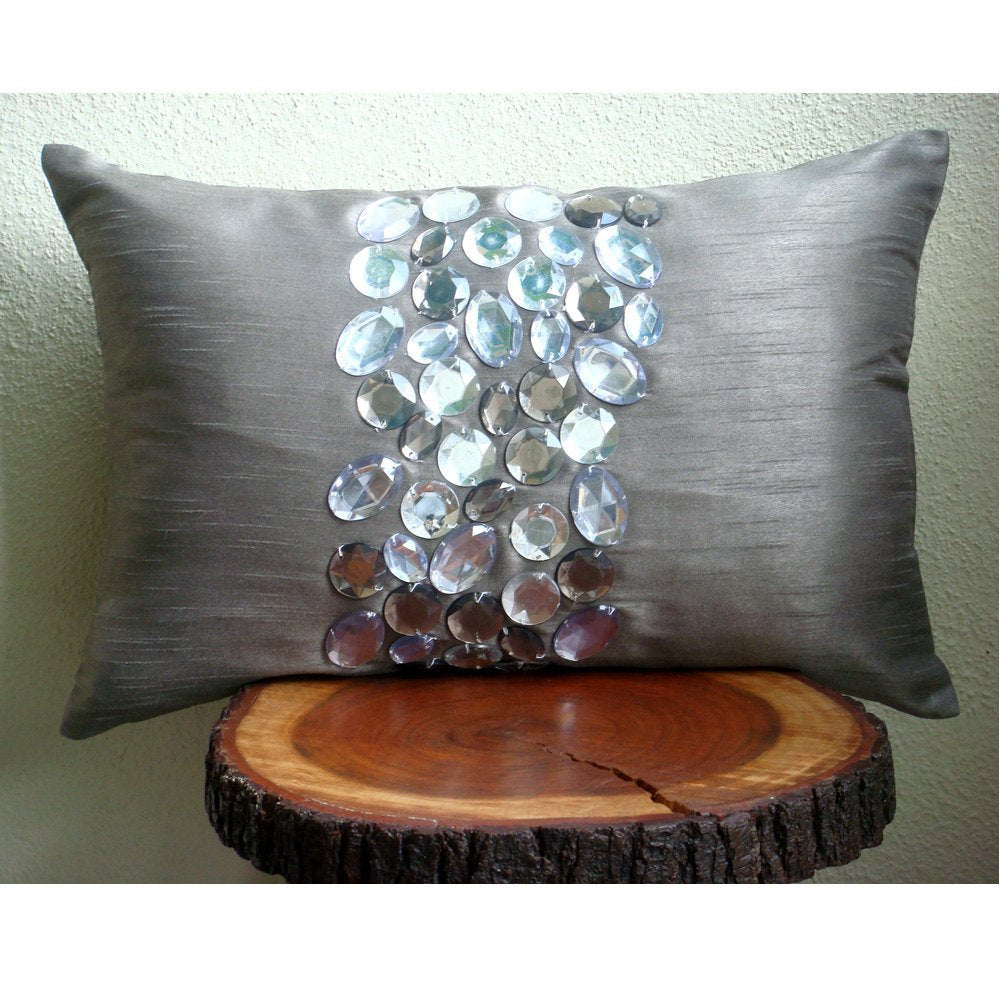 Crystal Delight - Art Silk Grey Rectangular Decorative Pillows Cover