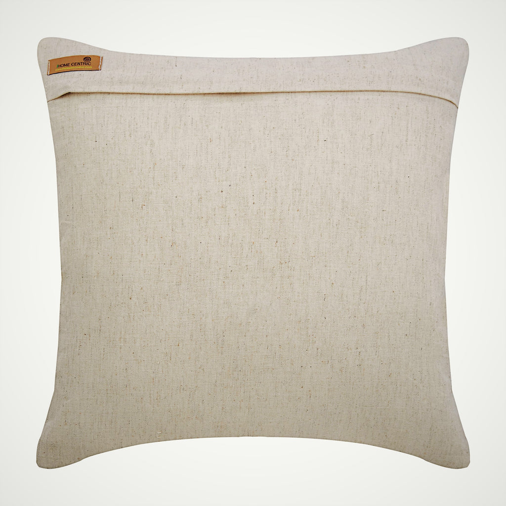 Jute Flowers - Natural Beige Cotton Blend Throw Pillow Cover