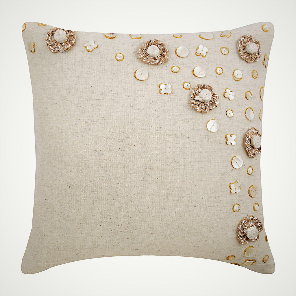 Jute Flowers Pillow Cover