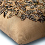 Leaf Rings - Beige Art Silk Throw Pillow Cover