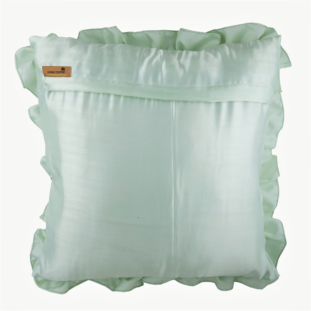 Mint Green Ruffles - Mint Green Satin Throw Pillow Cover
