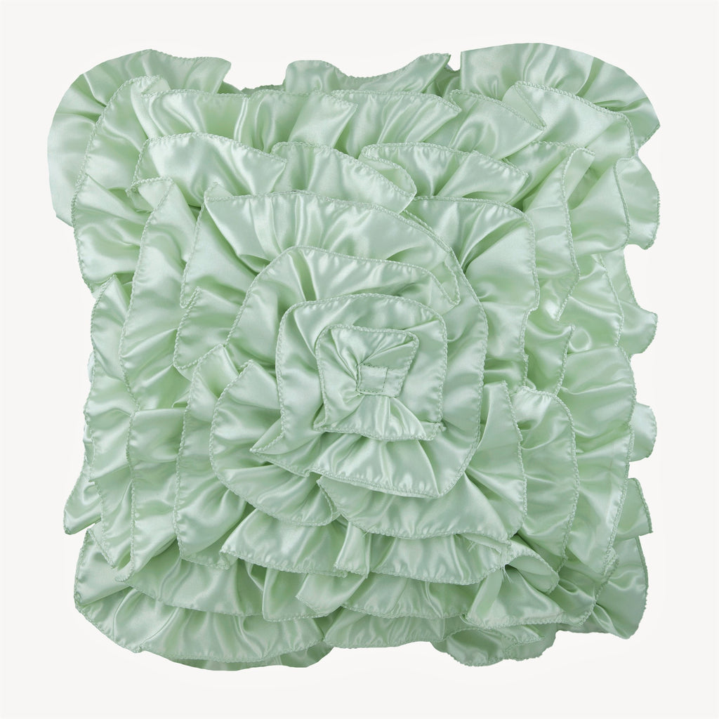 Mint Green Ruffles Pillow Cover