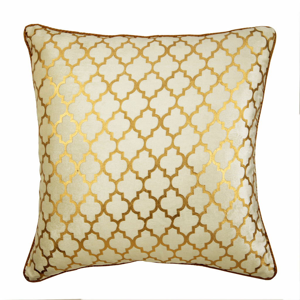 Gold Velvet Decorative Euro Sham Moroccan Lattice The Homecentric