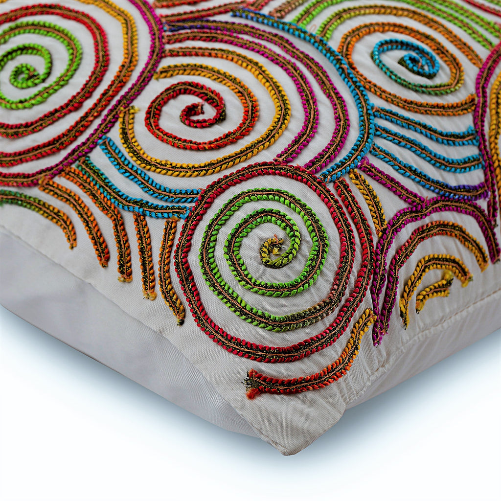 Multi Color Strands - Multi Color Silk Throw Pillow Cover