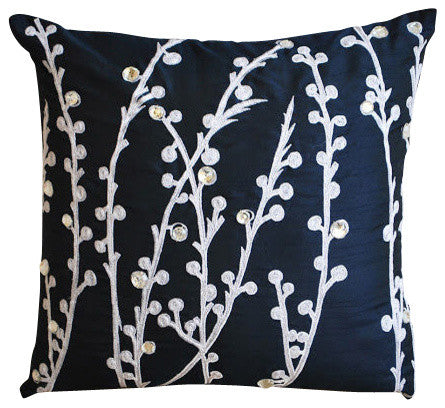 Navy Blue Willow Pillow Cover