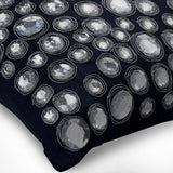 Navy Night Diamonds - Navy Blue Silk Throw Pillow Cover