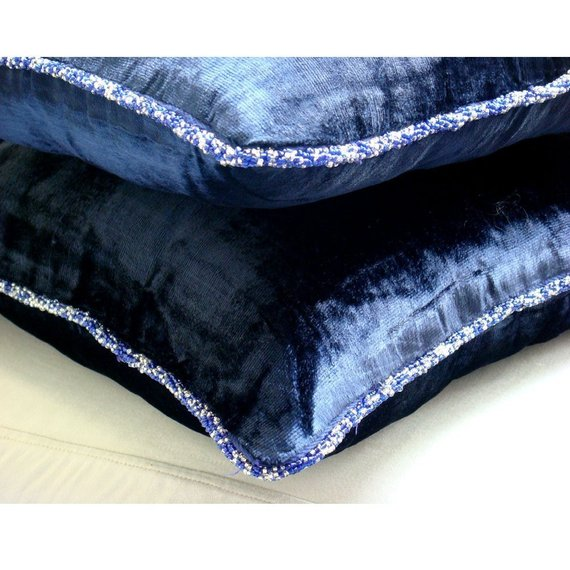 Navy Shimmer - Navy Blue Velvet Throw Pillow Cover