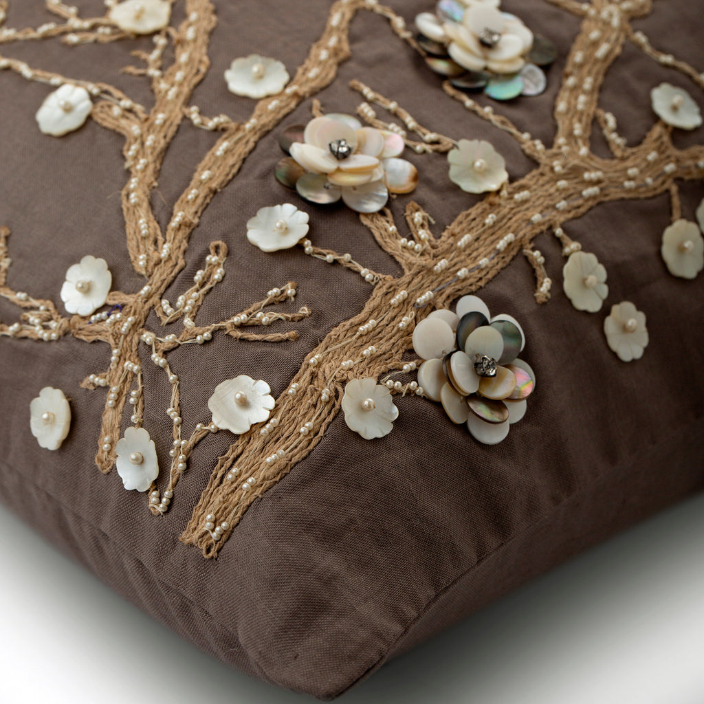 Organic Floral - Brown Linen Throw Pillow Cover