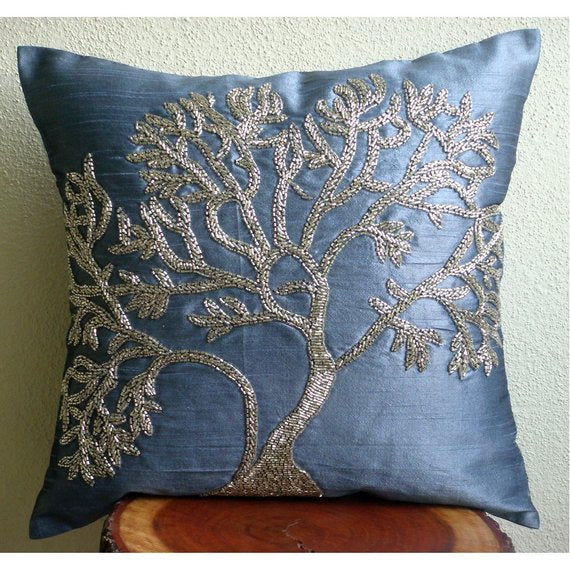 Paradise Tree - Blue Art Silk Throw Pillow Cover