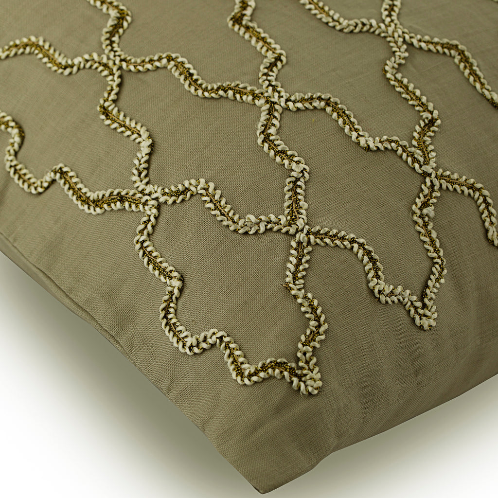 Pasha - Taupe Linen Throw Pillow Cover