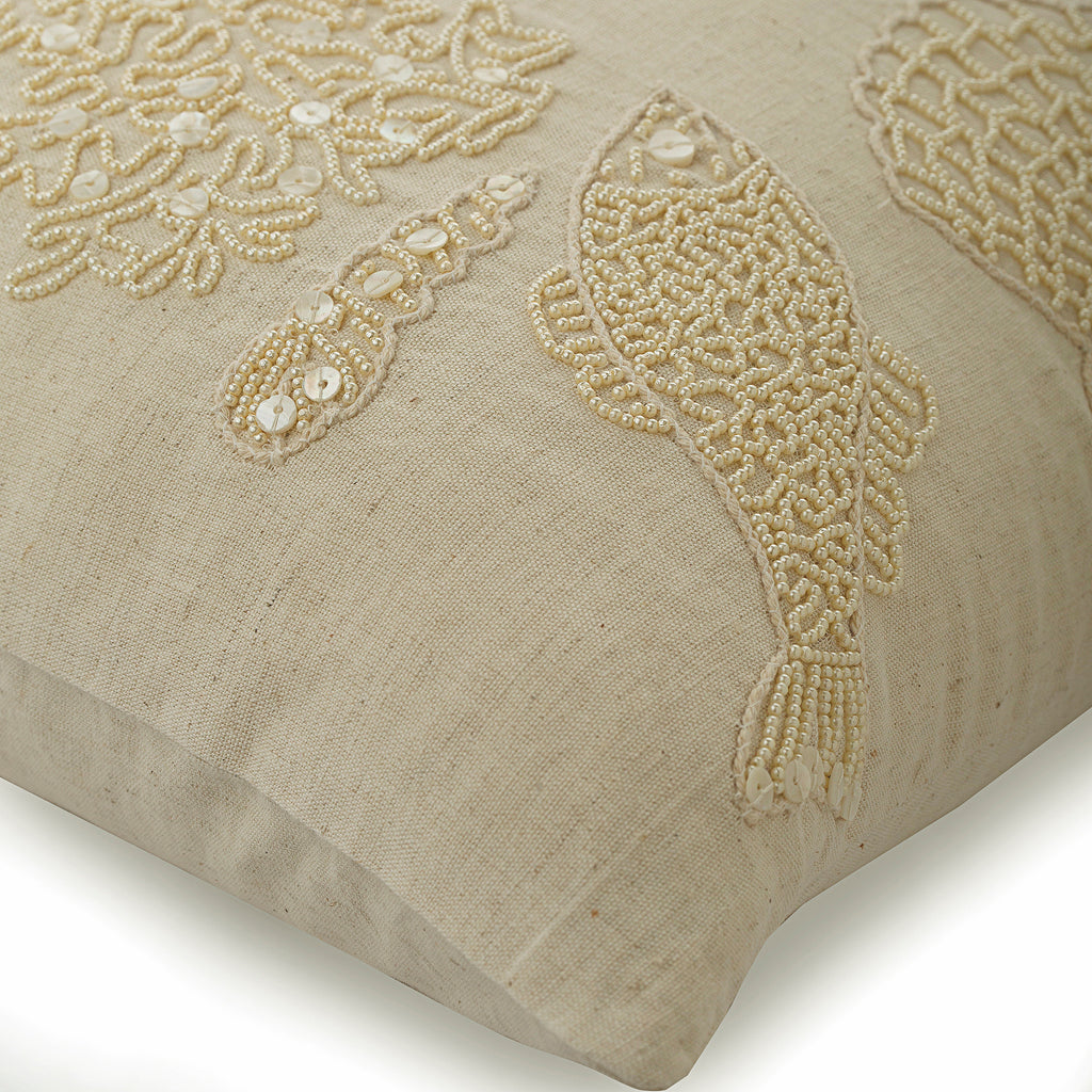 Pearly Sea Bed - Beige Linen Throw Pillow Cover