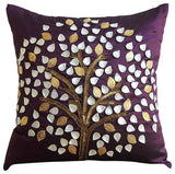 Silver Hope Tree - Gray Art Silk Throw Pillow Cover
