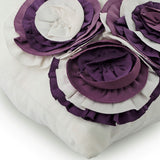 Purple Ruffle Roses - White Suede Throw Pillow Cover