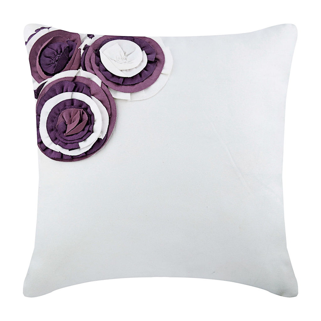 Purple Ruffle Roses Pillow Cover