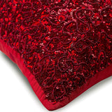 Red Glitterati - Red Silk Throw Pillow Cover