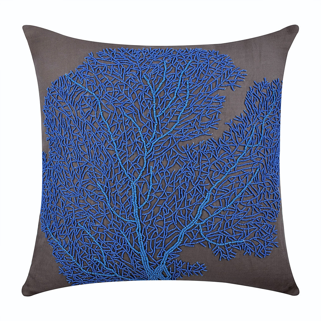 Blue Cotton Linen Throw Pillow Cover Royal Blue Sea Weeds The Homecentric