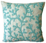 Silver Coral - Silver Art Silk Throw Pillow Cover