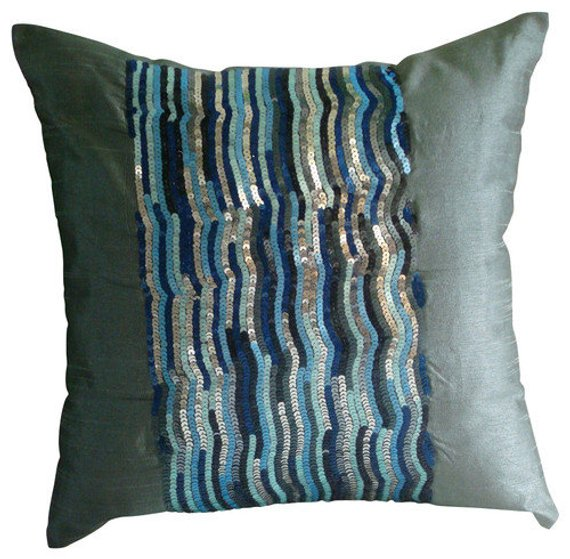 Silver Blue Jazz Pillow Cover