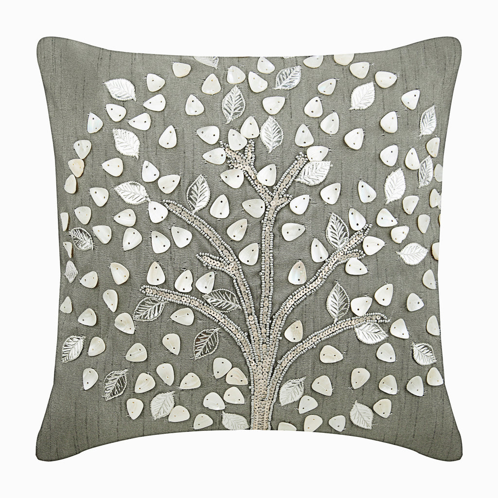 Silver Hope Tree Pillow Cover