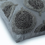 Silver Round Leaves - Silver Taffeta Decorative Euro Sham
