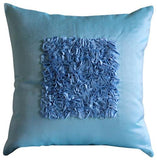 Vintage Blue Love - Blue Art Silk Throw Pillow Cover