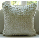 Snow Soft - Ivory Velvet Throw Pillow Cover