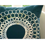 Teal N Silver Discs - Teal Blue Art Silk Throw Pillow Cover