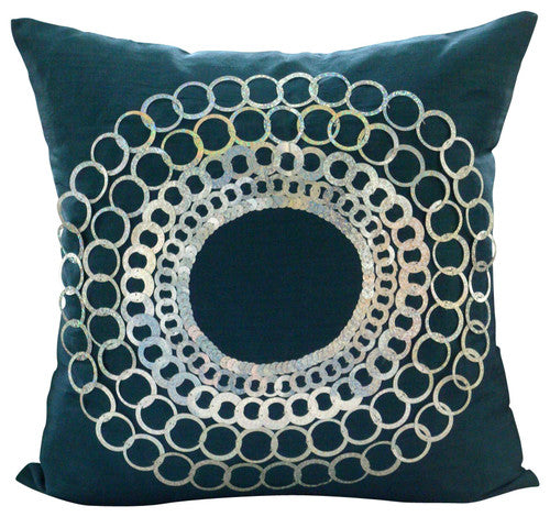 Teal N Silver Discs Pillow Cover