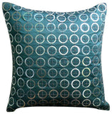 Teal N Silver Rings Pillow Cover