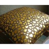 The Gold Mosiac - Gold Art Silk Throw Pillow Cover