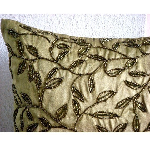 Tropical - Green Art Silk Dupion Throw Pillow Cover