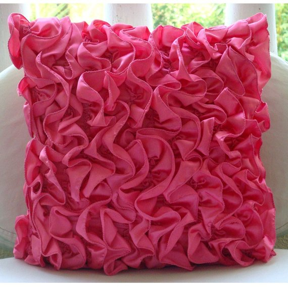 Vintage Fuchsia - Fuchsia Pink Satin Throw Pillow Cover